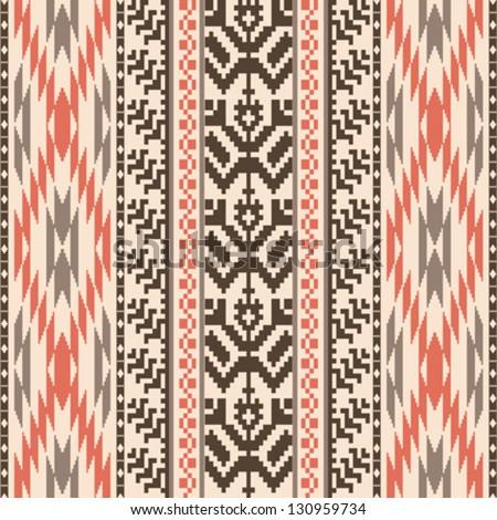 Ethnic textile decorative ornamental striped seamless pattern