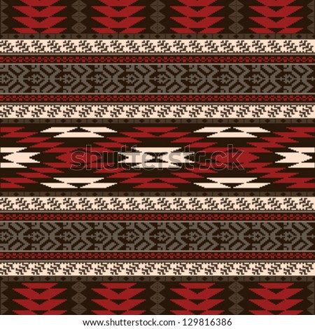 Ethnic traditional native american style textile seamless pattern
