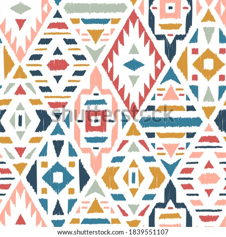 Ethnic Tribal Argyle Seamless Pattern. Traditional Boho Ikat Ornament of Doodle Rhombuses. Vector Abstract Mosaic Geometric Diamond Shapes Vector Colorful Background