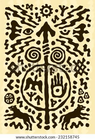 ethnic tribal native prehistoric viking spear symbol