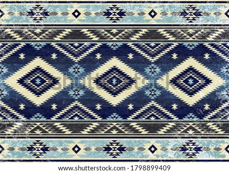 Ethnic tribal vector background with decorative folk elements. Aztec abstract geometric art print. Design for rug, tapis, blanket, wallpaper, cloth design, fabric, tissue, textile, carpet Aging effect