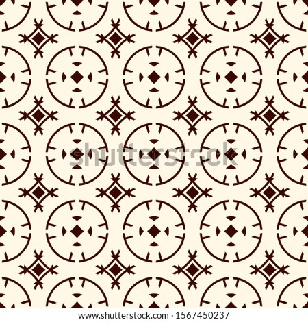 Ethnic, tribal wallpaper. Repeated segmented circles seamless pattern. Openwork ornament. Delicate ornamental surface background. Abstract geometric digital paper, textile print. Vector illustration
