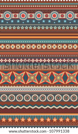 Ethnic various strips motifs in different color