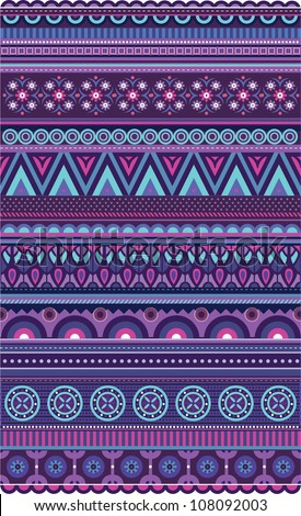 Ethnic various strips motifs in violet colors - stock vector