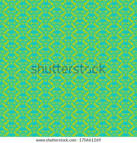 Ethnic vector seamless pattern in tropical green. Texture for web, print, home decor, textile, paper, wallpaper, card background, spring summer fashion fabric, Thai or Indian restaurant menu decor