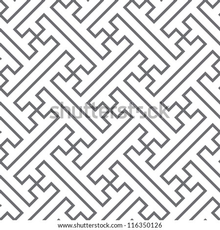 Ethnic vector seamless pattern of gray lines