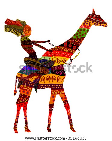 ethnic woman sits on the back of the giraffe in ethnic style - stock vector