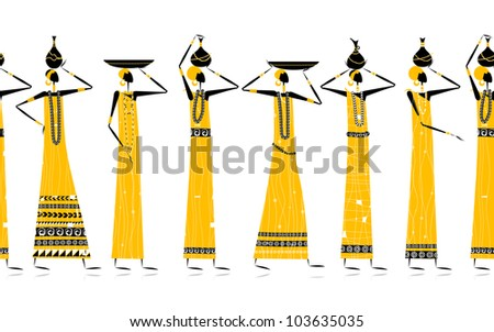 Ethnic women with jugs, seamless background for your design