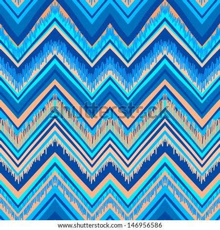 Ethnic zigzag pattern in retro colors, aztec style seamless vector background