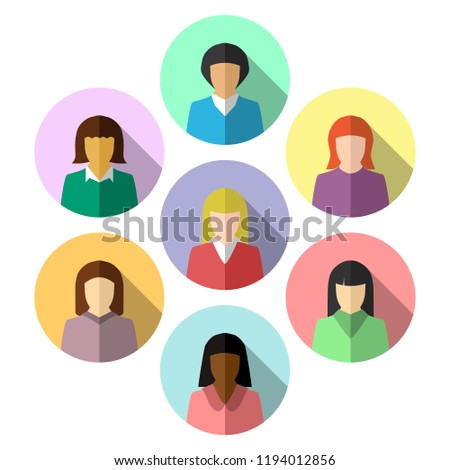 Ethnically diverse women in colorful flat design. Icon and avatar set in circle shape with long shadow.