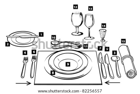 etiquette proper table setting - stock vector