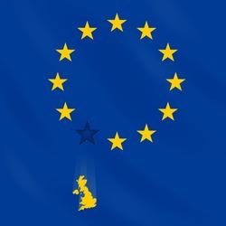 EU flag loses one star (membership of Great Britain). Illustration is devoted to Great Britain membership in EU, risk of member exit.
