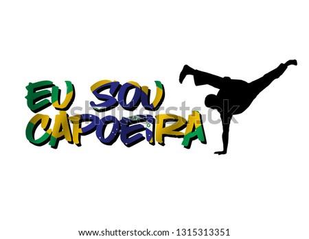 eu sou capoeira word with silhouette man with au batido move Foto stock ©