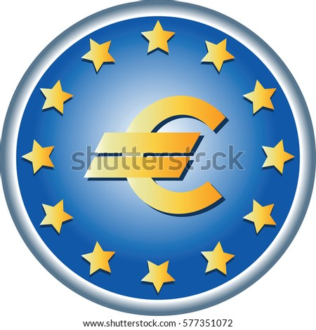 EU symbol. Round emblem. European Union Flag, the official colors and a symbol of money. Vector. logo design, sign book illustrations, brochures, leaflets, use on websites, gifts and cards.