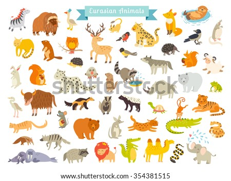 eurasian animals vector...