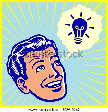 Eureka! vintage retro man having brilliant idea or solving problem with stroke of genius vector illustration