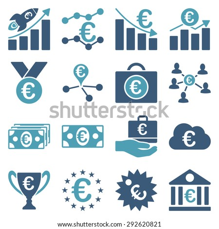 Euro banking business and service tools icons. These flat bicolor icons use cyan and blue. Images are isolated on a white background. Angles are rounded.