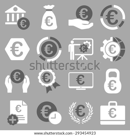 Euro banking business and service tools icons. These flat bicolor icons use dark gray and white colors. Images are isolated on a silver background. Angles are rounded. #293454923