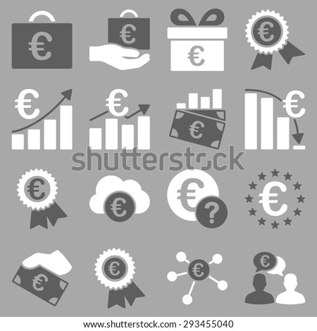 Euro banking business and service tools icons. These flat bicolor icons use dark gray and white colors. Images are isolated on a silver background. Angles are rounded. #293455040