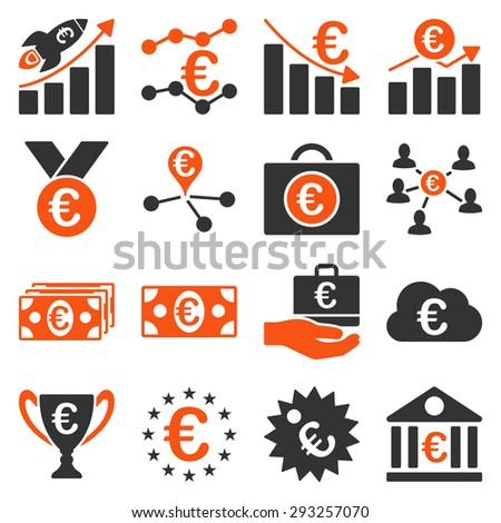 Euro banking business and service tools icons. These flat bicolor icons use orange and gray colors. Images are isolated on a white background. Angles are rounded.