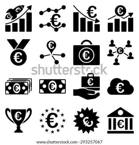 Euro banking business and service tools icons. These flat icons use black color. Images are isolated on a white background. Angles are rounded.