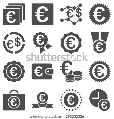Euro banking business and service tools icons. These flat icons use gray color. Images are isolated on a white background. Angles are rounded. #293232326