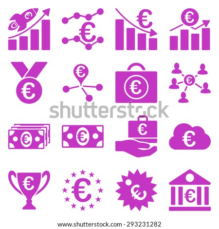 Euro banking business and service tools icons. These flat icons use violet color. Images are isolated on a white background. Angles are rounded.