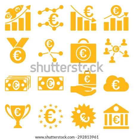 Euro banking business and service tools icons. These flat icons use yellow color. Images are isolated on a white background. Angles are rounded.