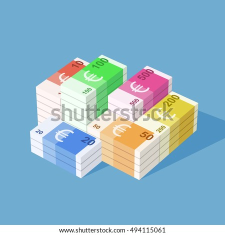 euro banknotes big stack of