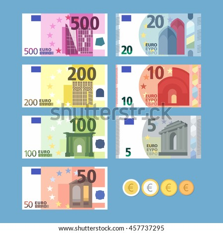 euro banknotes money coins
