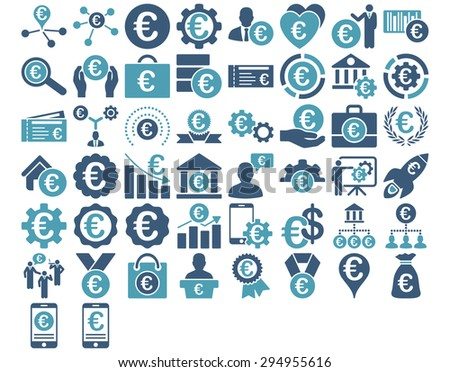 Euro Business Iconst. These flat bicolor icons use cyan and blue colors. Vector images are isolated on a white background.