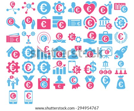 Euro Business Iconst. These flat bicolor icons use pink and blue colors. Vector images are isolated on a white background.