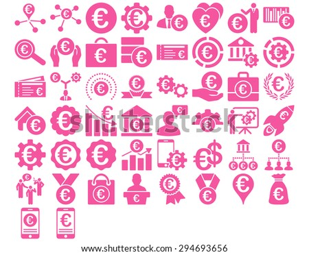 Euro Business Iconst. These flat icons use pink color. Vector images are isolated on a white background.