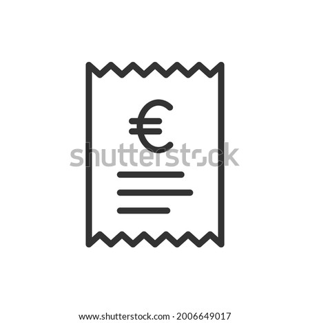 Euro checkout receipt icon line style. Bill, payment, invoice symbol concept isolated on white background. Vector illustration Foto stock ©