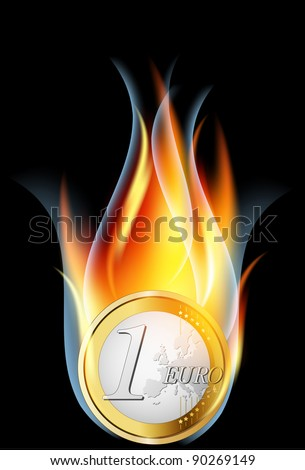 Euro crisis concept.Euro coin burning, illustration.