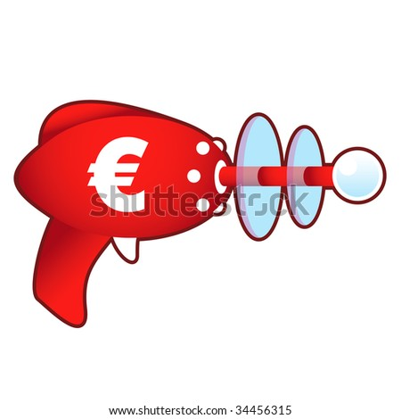 Euro currency icon on laser raygun vector illustration in retro 1950's style
