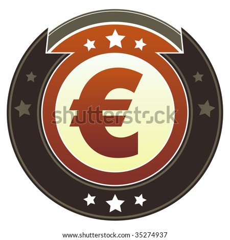Euro currency icon on round red and brown imperial vector button with star accents suitable for use on website, in print and promotional materials, and for advertising.