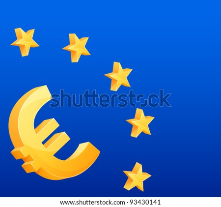 Euro currency symbol and stars symbolizing the European union