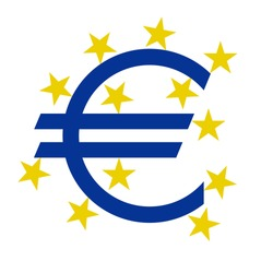 euro currency  symbol with stars on a white background, vector illustration stylish