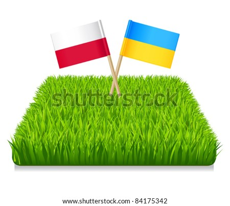 Euro 2012. Flags toothpick Ukraine and Poland. Grass green