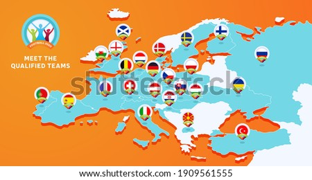 Euro 2020 football championship Vector illustration with a map of Europe with highlighted countries flag that qualified to final stage and logo sign on orange background. Foto d'archivio ©