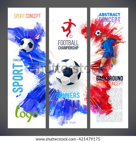 Euro 2016 France football championship. Sports banners with Soccer player and football ball against the background of the red, blue ink. Painted with watercolors. Isolate on white. Logo sport.