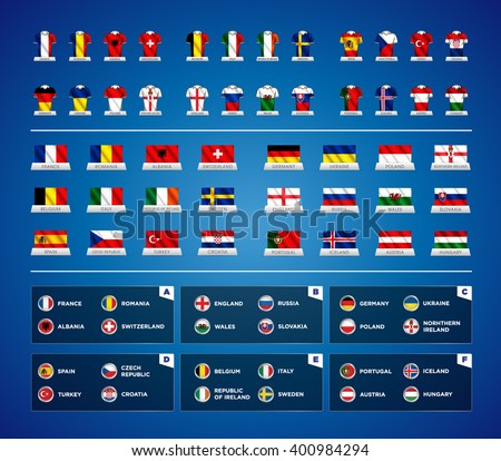 Euro 2016 France. Vector flags and groups. European football championship. Soccer tournament. All groups with flags illustrated on jerseys. Waving flags with country names.