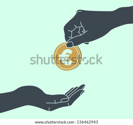 EURO. Hands Giving & Receiving Money