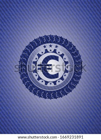 euro icon inside badge with
