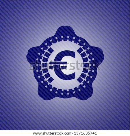 euro icon inside jean background