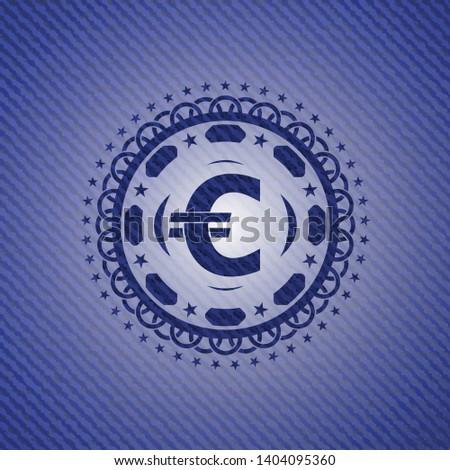 euro icon inside jean or denim