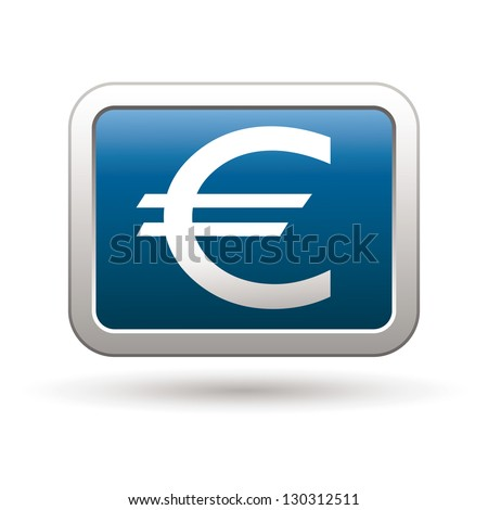 Euro icon on the blue with silver rectangular button. Vector illustration