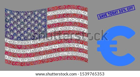 Euro items are combined into United States flag collage with blue rectangle rubber stamp watermark of Save Today 50% Off caption. Vector collage of USA waving flag is combined of Euro items.