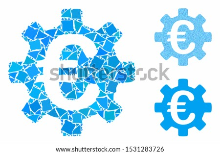 Euro machinery gear composition of tuberous elements in different sizes and color hues, based on Euro machinery gear icon. Vector joggly elements are composed into collage.